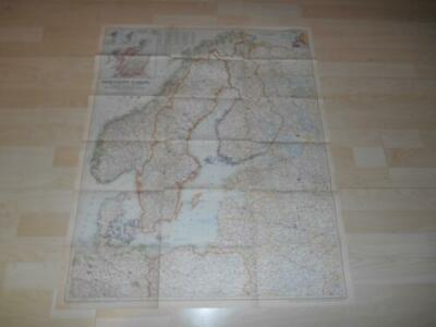 "Old Vtg 1954 NORTHERN EUROPE WALL MAP 29""x 36"" Hanging Decor"
