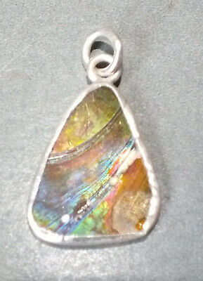 Ancient Roman Glass Pendant with Silver Mounting Afghanistan