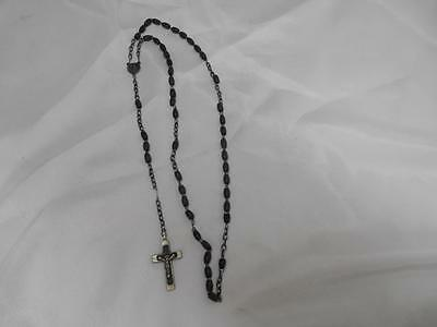 Antique Religious Gray Bead ROSARY Crucifix Medal Jesus Christ Old Vtg
