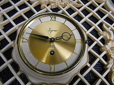 Old Vtg Syroco WIND-UP 8 Day Jeweled WALL CLOCK Syracuse Ornamental Hanging