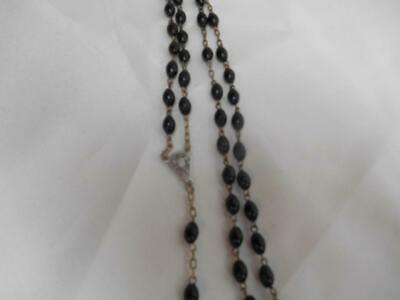 Antique Religious Black Bead ROSARY Crucifix Medal Jesus Christ Made ITALY Old