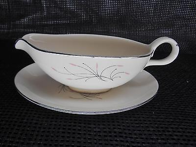Antique HOMER LAUGHLIN CHINA GRAVY BOAT & Underplate RHYTHM Pattern Tableware
