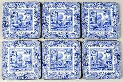 Spode BLUE ITALIAN Set Of 6 Square Corkback Coasters (Pimpernel) 9867213