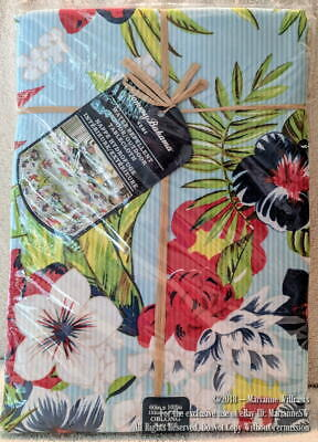 """NEW TOMMY BAHAMA HOME SEERSUCKER STRIPE TABLECLOTH 60"""" x 102 OBLONG BLUE FLORALS"""