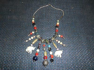 Old Vtg Hand-Crafted Tribal ELEPHANT NECKLACE Costume Jewelry Fashion Retro