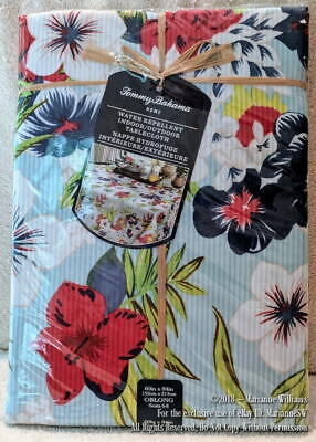 """NEW TOMMY BAHAMA HOME SEERSUCKER STRIPE TABLECLOTH 60"""" x 84 OBLONG BLUE FLORALS"""