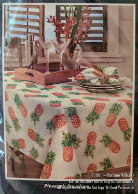 """New Tommy Bahama Home Pineapple Paradise Tablecloth 70"""" Round Indoor/Outdoor"""