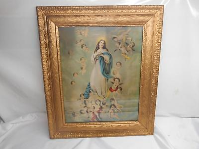 Antique Religious Print  OUR LADY OF ANGELS  Cherubs Angels Old Vtg Wall Hanging