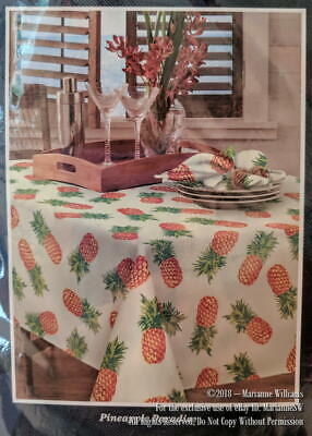 """NEW TOMMY BAHAMA HOME PINEAPPLE PARADISE TABLECLOTH 60"""" x 84 WATER REPELLENT"""