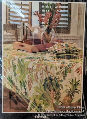 """NEW TOMMY BAHAMA HOME TORTUGA TABLECLOTH 60"""" x 84 WATER REPELLENT TROPICAL THEME"""