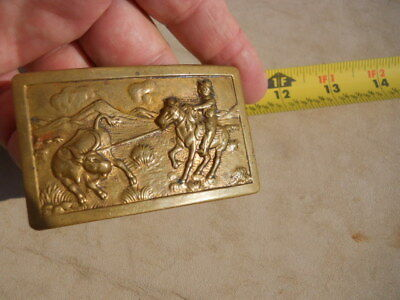 Vintage Cowboy Roping Steer Old Style Hook Western Belt Buckle