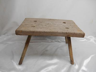 Antique Primitive Wood MILKING STOOL Bench 4-Leg chair Old Vtg Furniture Rustic