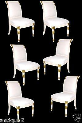 Set 6 Painted / Gilded Gustavian Russian Empire Style Neoclassical Dining Chairs