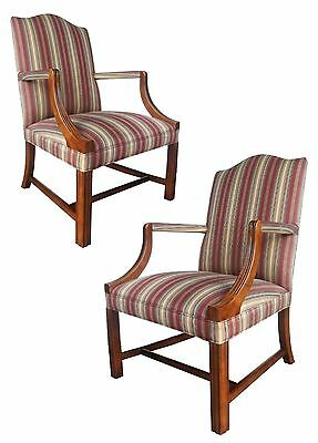 Pair English Georgian Chinese Chippendale Style Carved Walnut Arm Lounge Chairs