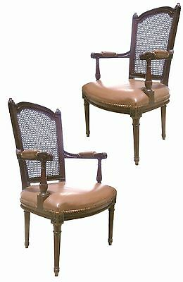 Pair Large French Louis Xvi Styl Carved Walnut Fauteuils Caned Arm Lounge Chairs