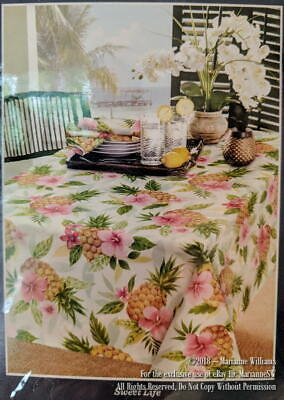 """New Tommy Bahama Home Sweeet Life Tablecloth 70"""" Round Tropical Floral Summer"""