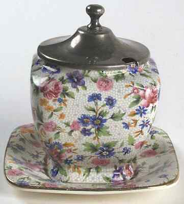 Royal Winton OLD COTTAGE CHINTZ Jam Jelly With Metal Lid & Underplate 2657050