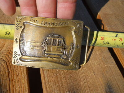 Vintage 1977 San Francisco Cable Car Brass Belt Buckle Indiana Metal Co