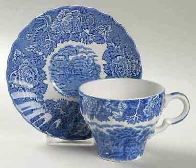 Wood & Sons ENGLISH SCENERY BLUE (SWIRL) Cup & Saucer 1723911