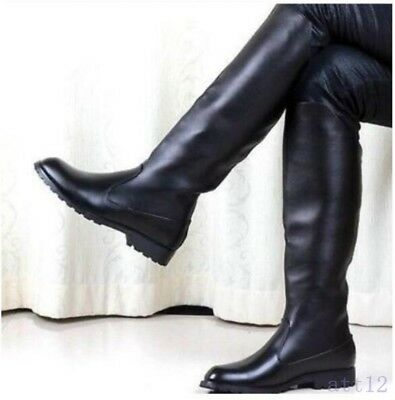 d38ab671b73 Men s High Boots Leather Flat Casual Military Solid Black Knight Knee Cool  Shoes