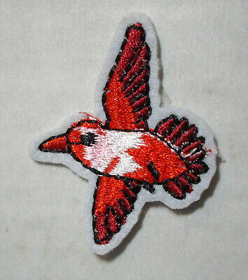 NEW 1 pc RED BIRD  Iron On Embroidered Applique
