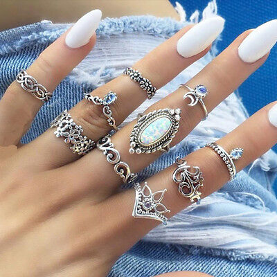 Retro Punk Women Fashion Leaf Sun Moon Flower Joint Rings Tail Rings Set LD