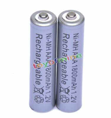 2x piles AAA 1.2V 1800mAh Ni-MH rechargeable 3A Gris portable pour MP3 Jouets RC
