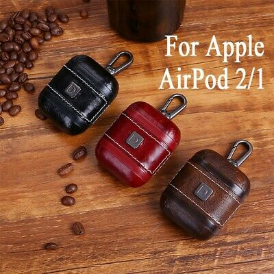 Leather Earphone Protective Case Skin Cover with Hooks For Apple AirPod 2/1 AU