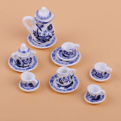 1/12th Dolls House Miniature Kitchen Dining Ware Floral Porcelain Coffee Tea Set