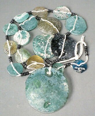 Outstanding Strand Necklace Ancient Roman Glass Beads Pendants Afghanistan