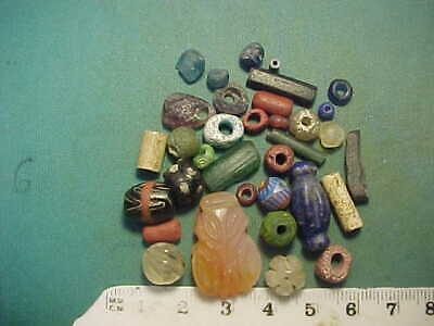30+ ancient beads circa 1000 BC-1700 AD + Egyptian crystal bee amulet