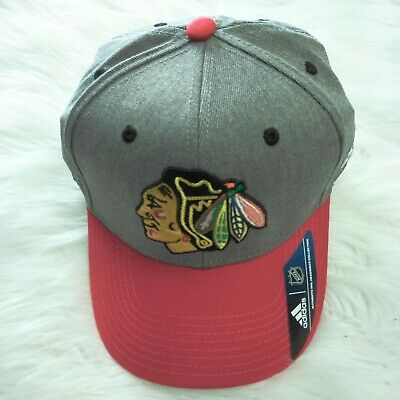 9d05909bd4f97 ADIDAS CHICAGO BLACKHAWKS NHL Heathered Grey/Red Adjustable Snapback ...