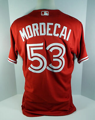 3b1fc6a0e04 2018 Toronto Blue Jays Mike Mordecai  53 Game Used Red Canada Day Jersey 32  Ptch