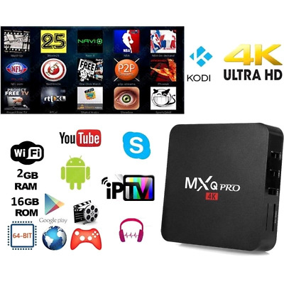 SMART TV BOX MXQ PRO 4K RAM 2GB IPTV XBMC Android 7.1 64bit 16GB WiFi MiniPC