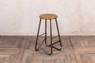 Wooden Seat Metal Frame Bar Stool Industrial Style Jewellery Stools 74Cm