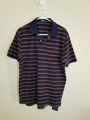 4642817c Vtg POLO By Ralph Lauren Mens Large Multi-Color Striped Short Sleeve Polo  Shirt