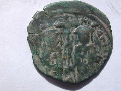 BYZANTINE ANDRONICUS II & MICHAEL IX AE ASSARION 1.45g NA rev S2432  RARE