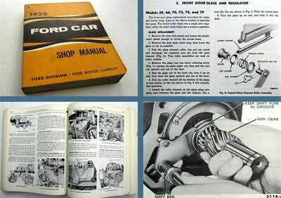 Ford Cars Station Wagons Couriers Rancheros Shop Manual 1958