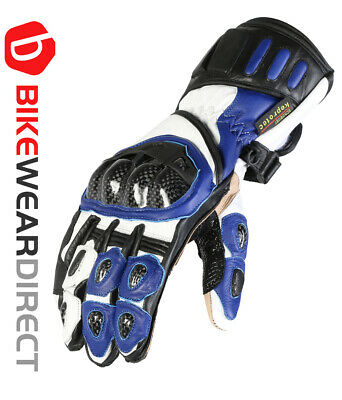 Blue Leather Motorcycle Motorbike Biker Gloves CE Armoured Vented Texpeed