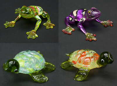 Lot of Four (4) Miniature Hand-Blown Art Glass Frog & Turtle Figurines