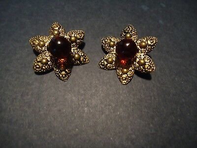 Pair of Ornate Vintage Metal Star Shaped Amber Glass Button Jewelry