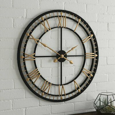 Large Industrial Wall Clock Vintage Retro Round Metal Home Cafe Decor 80cm Gift