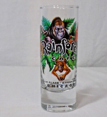 """RAINFOREST CAFE CHICAGO * Shot Glass * Clear - Tall 4"""" -"""