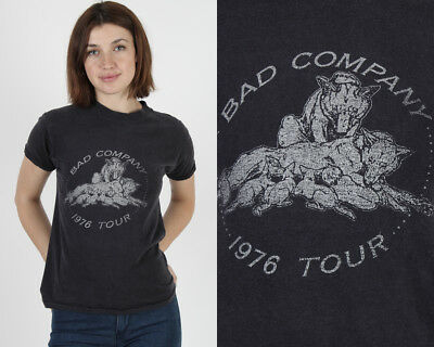 Vintage 70s Bad Company Band Concert 1976 Tour Hard Rock Blues Black Tee T Shirt