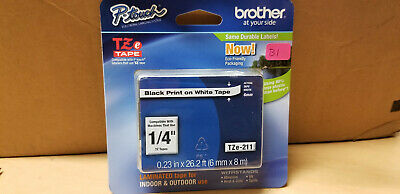 "New Brother P-Touch TZe Tape Cartridge 1/4"" Black Print On White TZe-211"