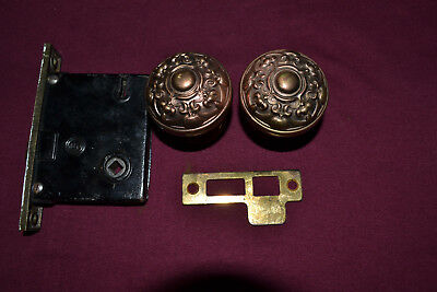 Antique Vintage Eastlake Set Of Brass Door Knobs Wiyh Rosettes   #97