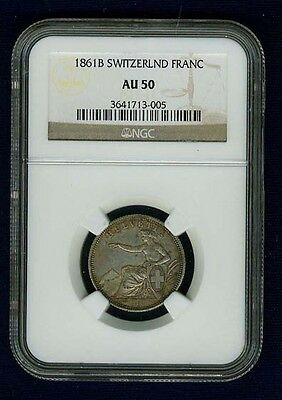 Switzerland 1861-B  1 Franc Silver Coin, Almost Uncirculated, Ngc Certified Au50