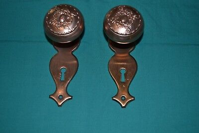 Antique Pair of Ornate Victorian Brass Door Knobs With BACK PLATES  #98