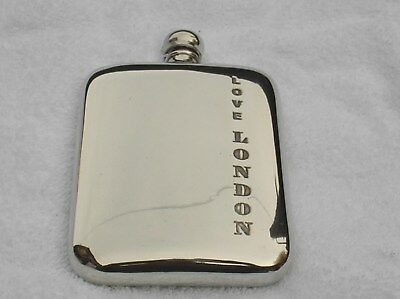 6oz STAMPED PEWTER HIP FLASK WITH LOVE LONDON ETCHED ON THE SIDE