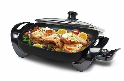 "Elite Cuisine 12"" Non-Stick Electric Skillet with Glass Lid - Black"